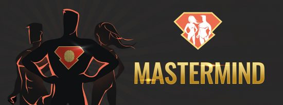 The banner for the SuperHuman Academy MasterMind, featuring 3 figures posing as SuperHumans.